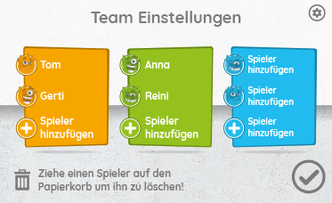 Interaction Team Einstellungen App Screen